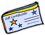 Clipart Of Gift Certificate For Personalized training on computers, iPads, Kindles, Nooks, Email, Internet, and Websites